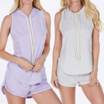 Fashion Solid Color Sleeveless Hooded Tops + Shorts Sports Suit