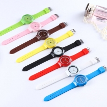Fashion Silicone Watch Band Round Dial Jelly Watches