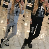 Casual Style Letters Printed Hooded Long Sleeve Tops and Pants Two-piece Set