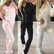 Casual Style Solid Color Side Zipper Hooded Long Sleeve Sports Suit