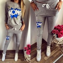 Casual Style Letters Printed Round Neck Long Sleeve Sports Suit