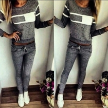 Trendy Contrast Color Round Neck Long Sleeve Sports Suit