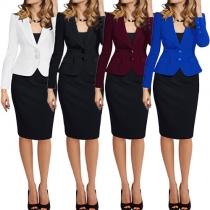 OL Style Solid Color 2 Side Pockets Lapel Long Sleeve Slim-fitting Blazer