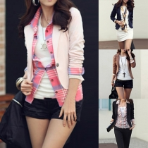 OL Style Solid Color Lapel Long Sleeve Slim Fit Blazer