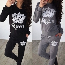 Casual Style Crown Printed Long Sleeve Tops and Pants Two-piece Set