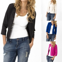 Concise Style Solid Color 3/4 Sleeve Cardigan Blazer