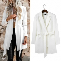 Fashion Solid Color Lapel Long Sleeve Slim Fit Blazer with Waist Strap