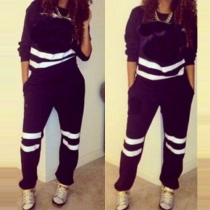 Casual Style Contrast Color Round Neck Long Sleeve Sports Suit
