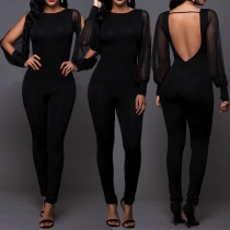Sexy Solid Color Gauze Spliced Round Neck Backless Slim Fit Jumpsuit