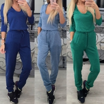 Casual Style Solid Color Long Sleeve High Waist Sports Suit
