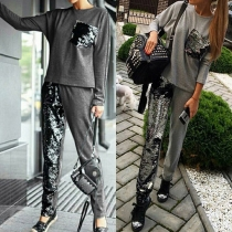 Fashion Sequin Spliced Round Neck Long Sleeve Sports Suit