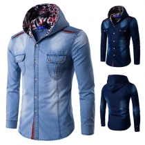 Fashion Single-breasted Long Sleeve Hooded Men's Denim Shirt