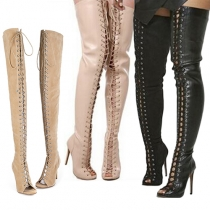 Sexy Solid Color Peep Toe Front Lace-up High-heeled Over The Knee Boots