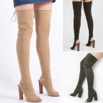 Fashion Solid Color Peep Toe High-heeled Over The Knee Boots