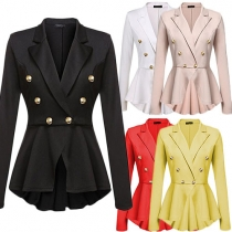 OL Style Solid Color Lapel Long Sleeve Double-breasted Irregular Hemline Blazer