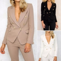 Fashion Solid Color Double-breasted Lapel Long Sleeve Slim Fit Blazer