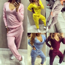 Casual Style Solid Color V-neck Long Sleeve Patch Pockets Sports Suit