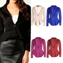 OL Style Solid Color Single-breasted Lapel Long Sleeve High-low Hemline Blazer