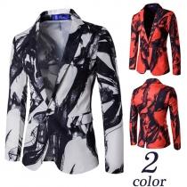 Fashion Ink Printed Long Sleeve Lapel Slim Fit Men's Blazer