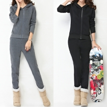 Fashion Solid Color Hooded Sweatshirt + Pants Warm Sports Suit