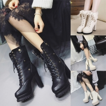 Fashion Round Toe Thick High-heel Platform Faux Fur Lace Up Booties