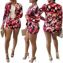 OL Style Long Sleeve Blazer + High Waist Shorts Printed Two-piece Set