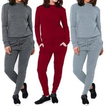 Fashion Solid Color Long Sleeve Sweatshirt + Pants Two-piece Set
