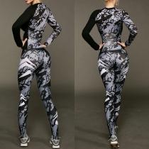 Fashion Long Sleeve V-neck Top + High Waist Leggings Printed Sports Suit