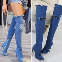 Retro Style High-heeled Peep Toe Over-the-knee Denim Booties