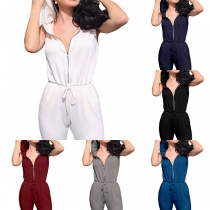 Casual Style Sleeveless Hooded Elastic Waist Ripped Jumpsuit