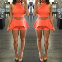 Sexy Off-shoulder Crop Top + High Waist Shorts Solid Color Two-piece Set