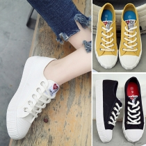 Casual Style Round Toe Flat Heel Lace-up Canvas Shoes