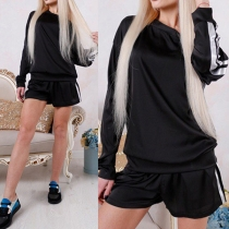 Fashion Contrast Color Long Sleeve Round Neck Top + Shorts Sports Suit
