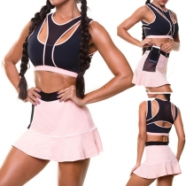 Sexy Backless Hollow Out Sports Tank Top + High Waist Skirt Two-piece Set