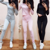 Fashion Solid Color Long Sleeve Round Neck T-shirt + High Waist Pants Sports Suit