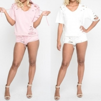 Fashion Solid Color Short Sleeve Hooded Ripped T-shirt + Shorts Two-piece Set