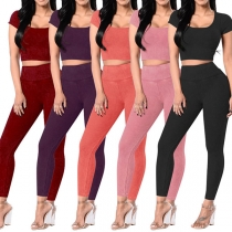 Fashion Solid Color Short Sleeve Round Neck Crop Top + High Waist Leggings Sports Suit