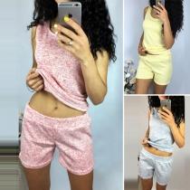 Fashion Sleeveless Round Neck Top + Shorts Sports Suit