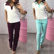Fashion Contrast Color Short Sleeve T-shirt + Pants Sports Suit