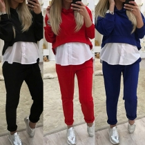 Fashion Solid Color Long Sleeve Hooded Sports Suit