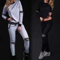 Fashion Letters Printed Long Sleeve Round Neck Ripped Sports Suit