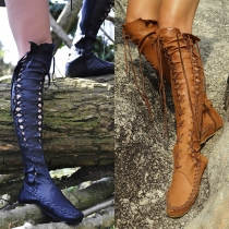 Fashion Solid Color Flat Heel Round Toe Lace-up Over-the-knee Boots