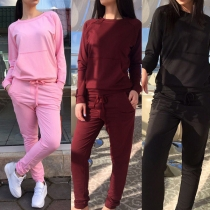 Fashion Solid Color Long Sleeve Round Neck Sweatshirt + Pants Casual Sports Suit