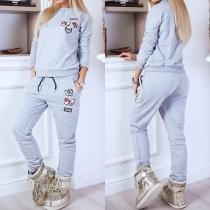 Fashion Long Sleeve Round Neck Sweatshirt + Pants Casual Sports Suit