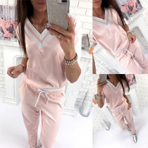 Fashion Contrast Color Long Sleeve V-neck Sweatshirt + Pants Sports Suit