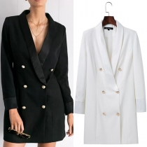 Elegant Solid Color Long Sleeve Double-breasted Slim Fit Blazer