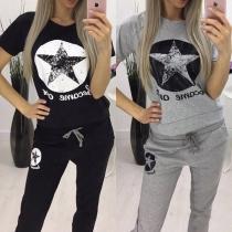 Fashion Pentagram Printed Short Sleeve T-shirt + Pants Sports Suit