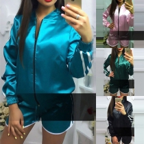 Fashion Long Sleeve Stand Collar Sports Coat + Shorts Two-piece Set