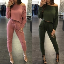 Chic Style Long Sleeve Ripped T-shirt + Elastic Waist Pants Two-piece Set