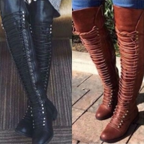 Fashion Solid Color Round Toe Flat Heel Lace-up Over-the-knee Boots